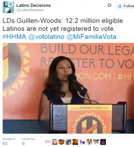 A Twitter post from Hispanic Heritage Month stressing the importance of registering to vote.