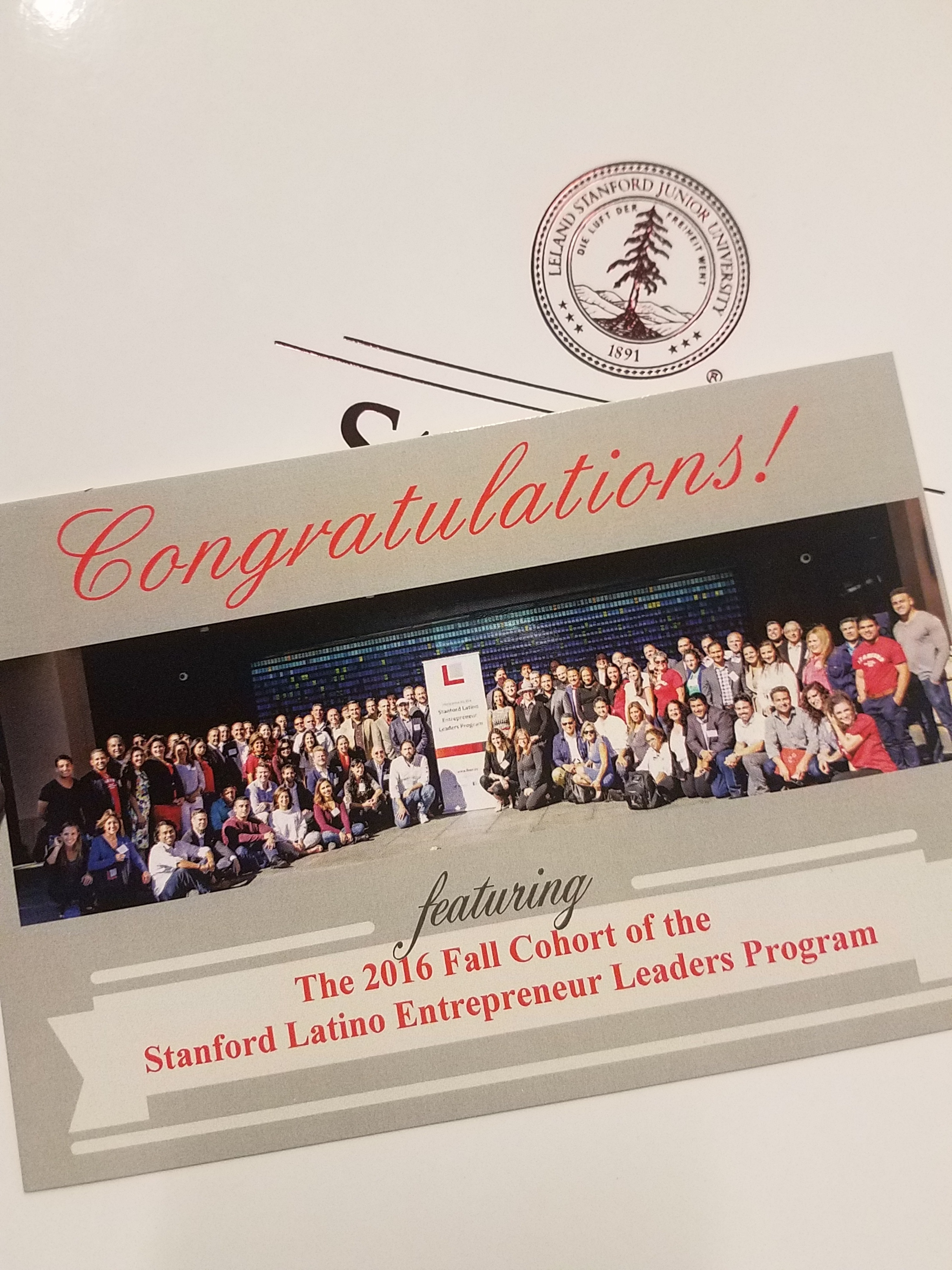 The certification of completion from the Stanford Latino Entrepreneur Leaders Program